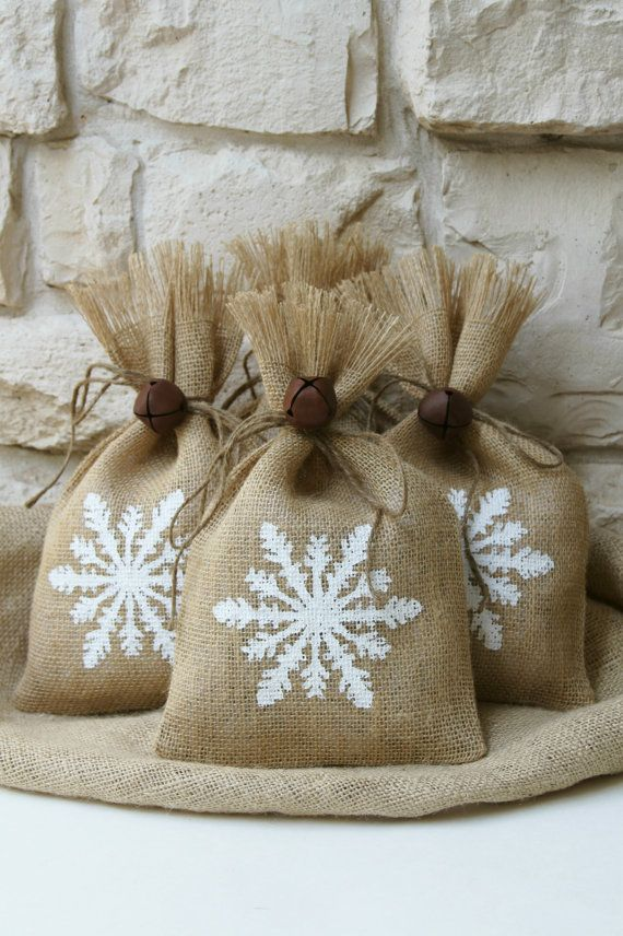 Burlap Gift Bags, Snowflake, Shabby Chic Christmas Wrapping, White and Natural, Jingle Bell Tie On, Set of Four.
