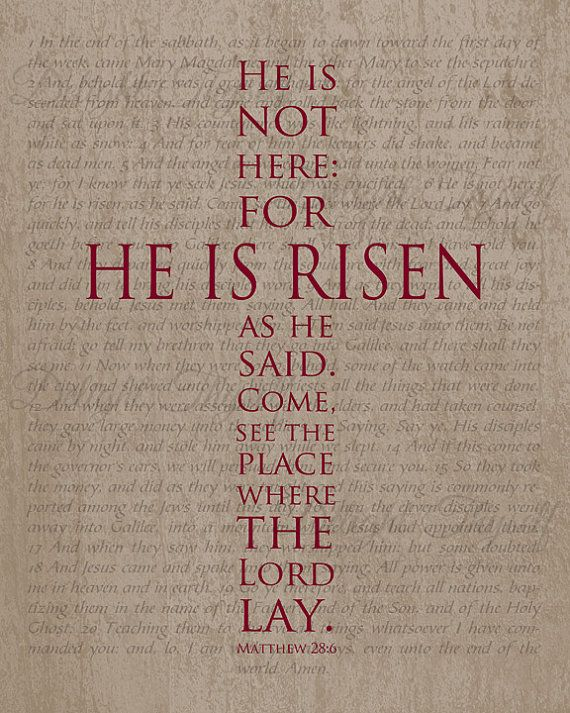 He Is Risen Cross Easter Print Matthew by DelightThyselfDesign