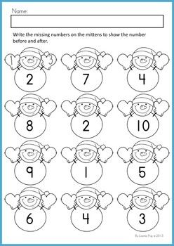 Math Worksheets & Activities - Winter (Beginning Skills). 43 pages. A page from the unit: Numbers before and after