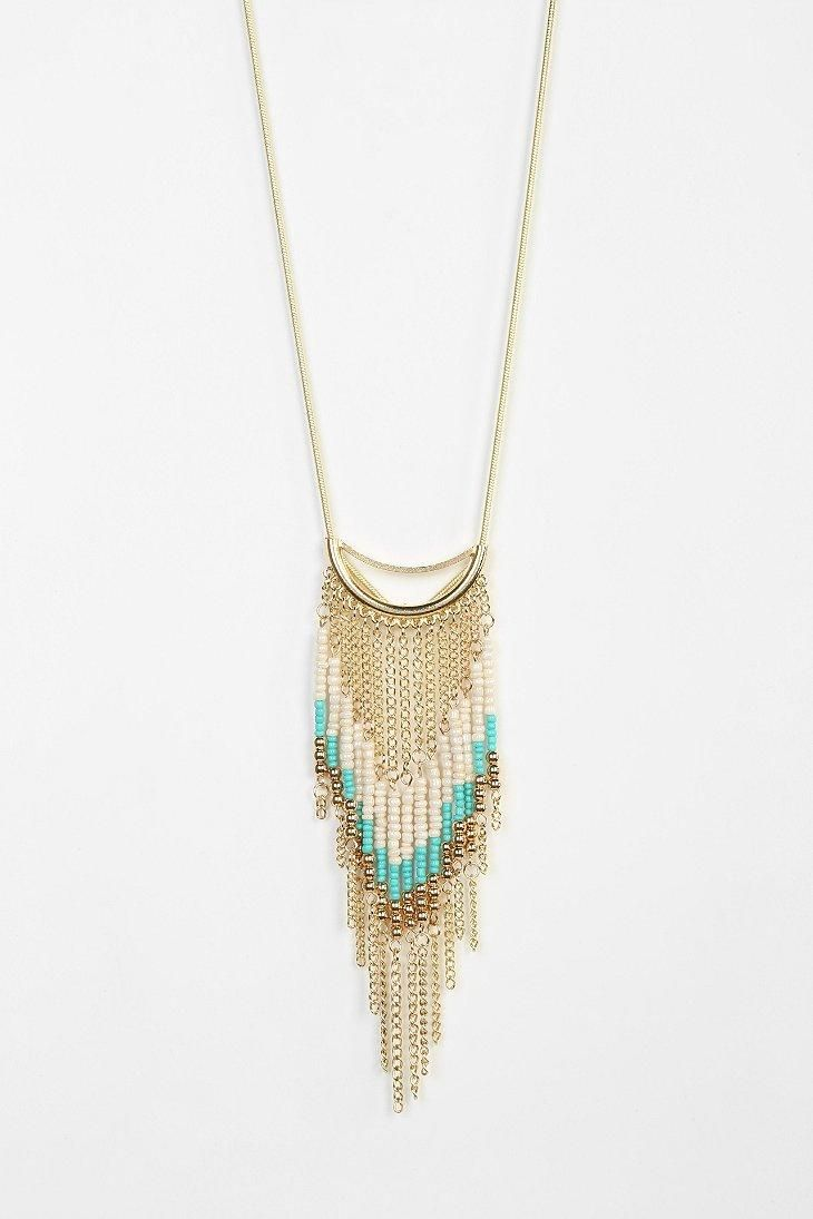 Beaded Fringe Long Necklace #urbanoutfitters