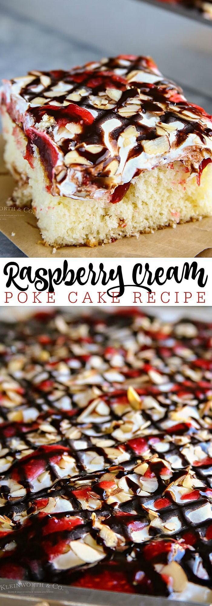 Raspberry Cream Poke Cake - Simple and easy dessert for every holiday or celebration.
