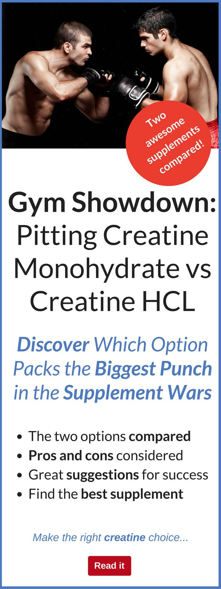 In one corner there is creatine monohydrate. It's the most popular form of creatine in the supplement market. In the other corner we have creatine HCL. Some think it's the best creatine on the market while others think it's rubbish. Let's look at the facts about these two dietary supplements and decide who wins.