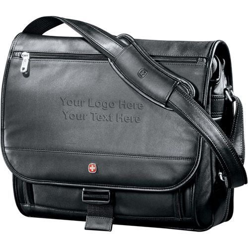 """Custom printed Wenger executive leather saddle bags features a large compartment with a laptop sleeve, which can hold 17"""" laptop. #fathersday #promotionalitem"""