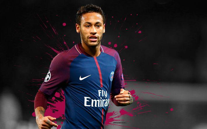 Download wallpapers 4k, Neymar, grunge, PSG, soccer, football stars, Ligue 1, Paris Saint-Germain, art, footballers, Neymar JR