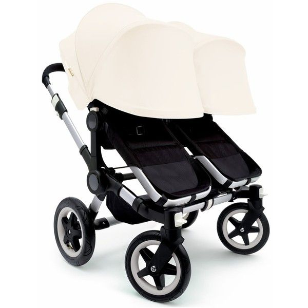 Bugaboo Donkey Twin Stroller, Extendable Canopy 2015 Black Off White (33,925 MXN) ❤ liked on Polyvore featuring baby