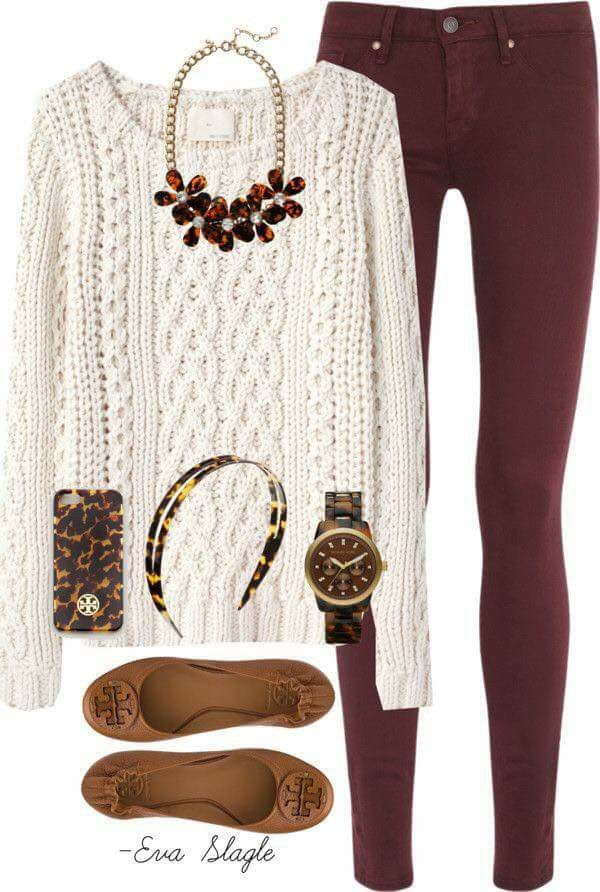 Not all the accessories. Love the sweater and pants. Maybe ankle boots instead of flats