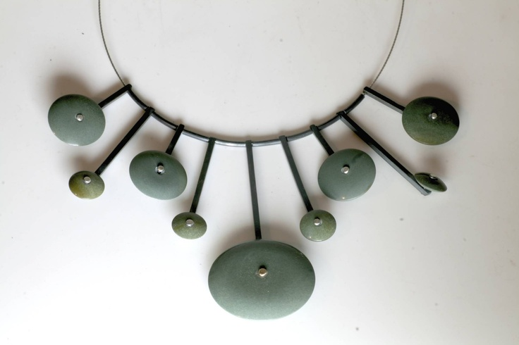 Green Argillite & Sterling Silver 'Sun Burst' Necklace  www.jeremyleeming.com
