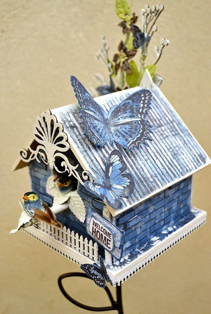 Altered bird house by Belinda Spencer using Darkroom Door Background Stamps: Corrugated Iron DDBS026 & Brick Wall DDBS034. Also uses Butterflies Stamp Set DDRS025 & Home Sweet Home Stamp Set DDRS041.