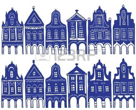 Illustratie van oude versierde dorpshuizen - achtergrond Patten Stockfoto
