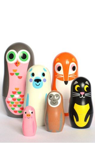 Cool & colorful stacking dolls. #baby