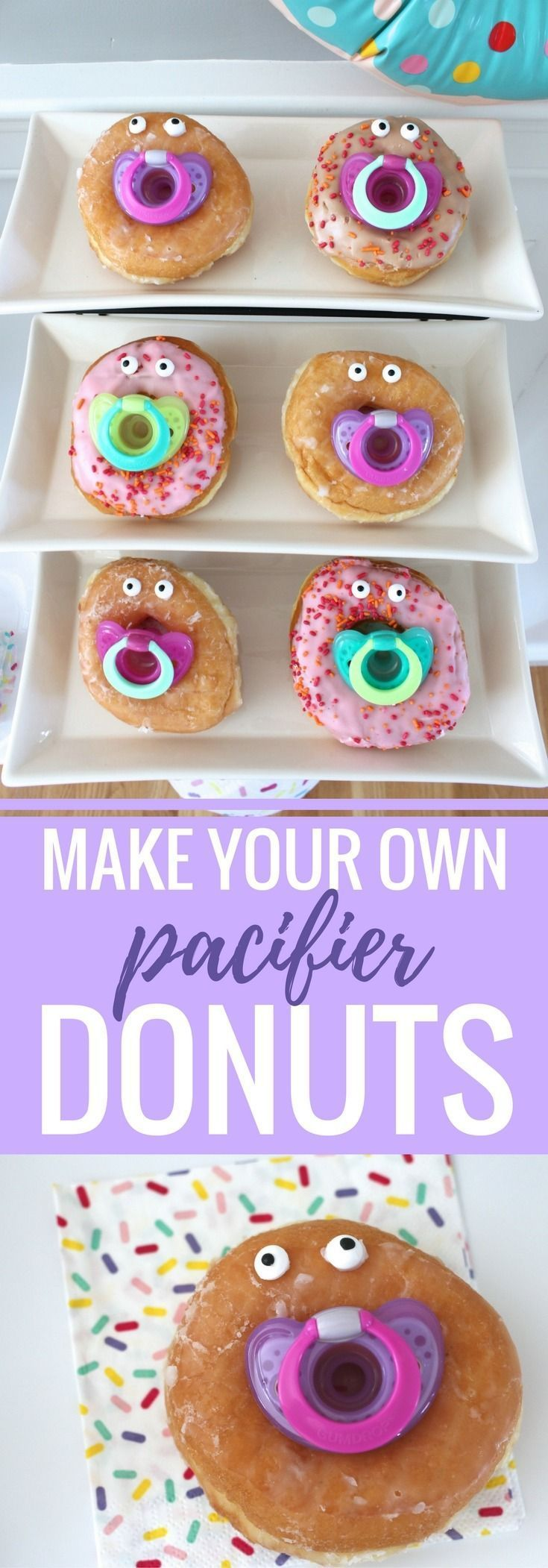 Make these funny little pacifier donuts for a baby shower, gender reveal party, or first birthday party. These donuts from @weheartparties are the perfect sweet treat to serve!