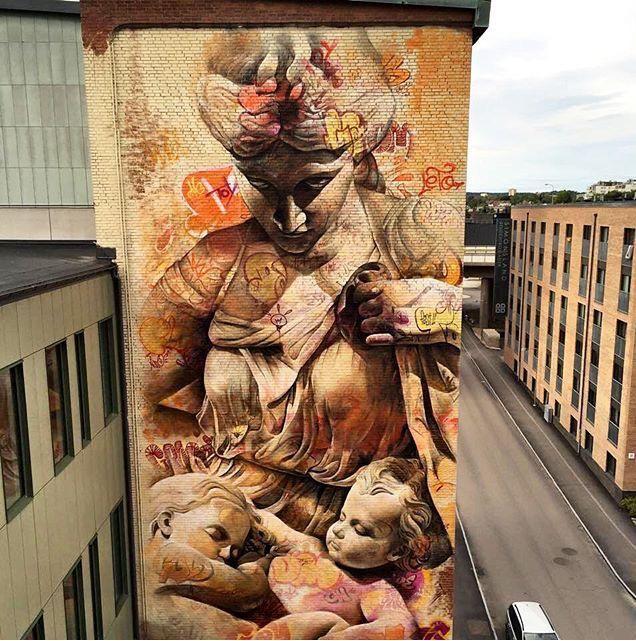 New Street Art by Pichi Avo in Sweden for nolimitboras   #art #arte #mural…