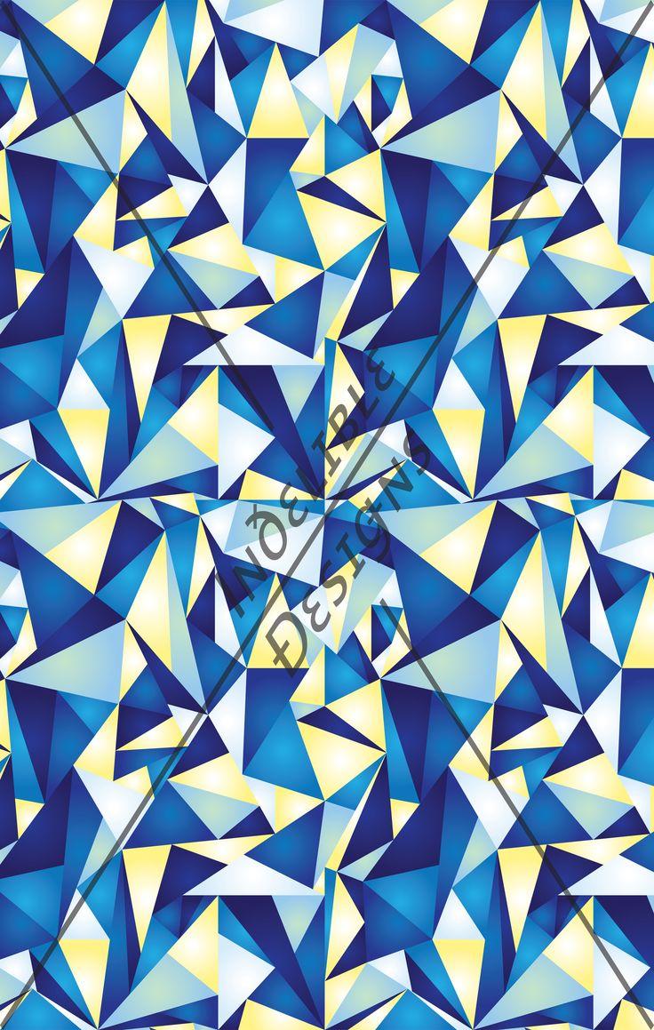 ID#05CE — Iɴðɛʟɪʙʟɛ Ðɛsɪǥɴs #digitalprint #printdesign #textiledesign #textileprint #layer #diamond #triangle #line #linear #shatter #shape #blue #navy #cobalt #yellow #fade #gradation #white #turquoise