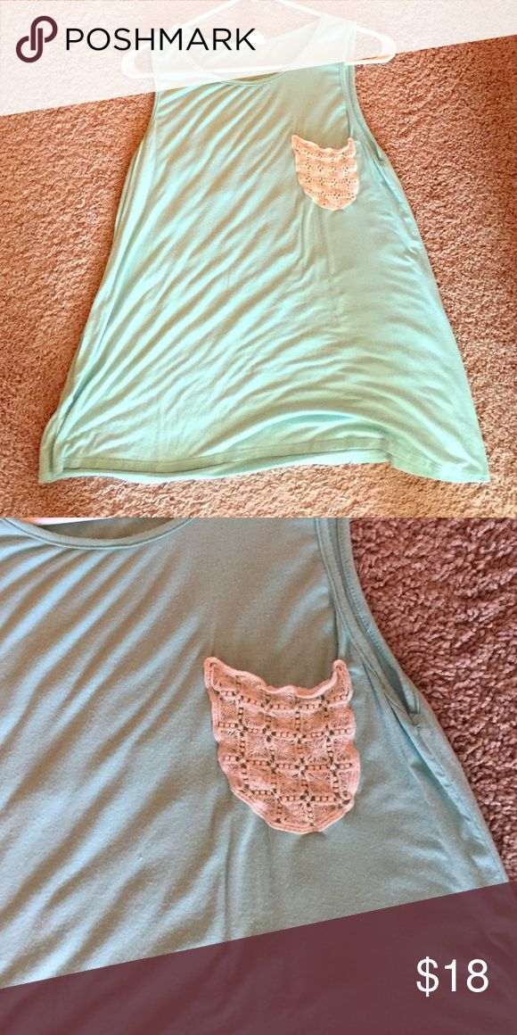 Mint tank top with crochet knit pocket Purchased from mint julep boutique • worn once • Tops Tank Tops
