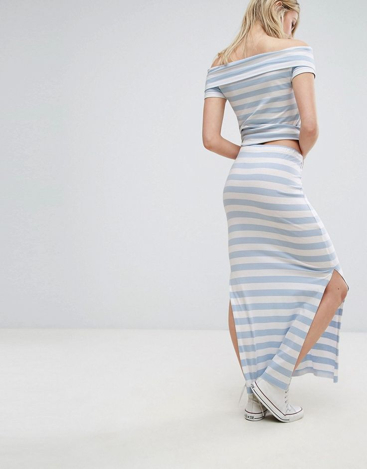 Only Abbie Co Ord Maxi Skirt with Slit - Multi
