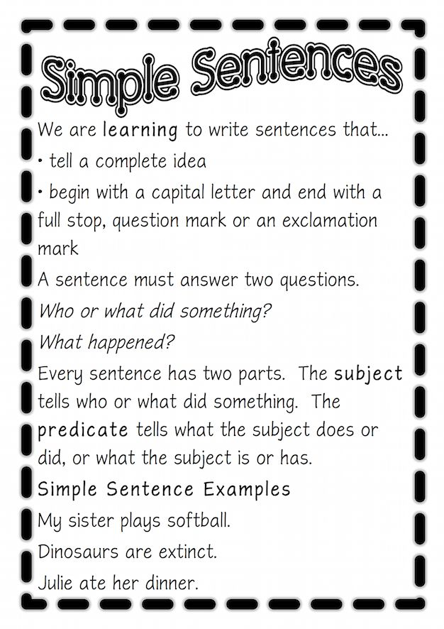 Poster to show how to write correct simple sentences. Free and printable from Classroom Treasures.