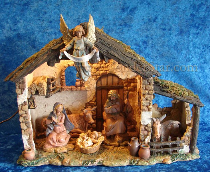 """maybe too small? nice baby.5"""" Fontanini Nativity Scene 6-pc w 10"""" Lighted Resin Stable 54567"""