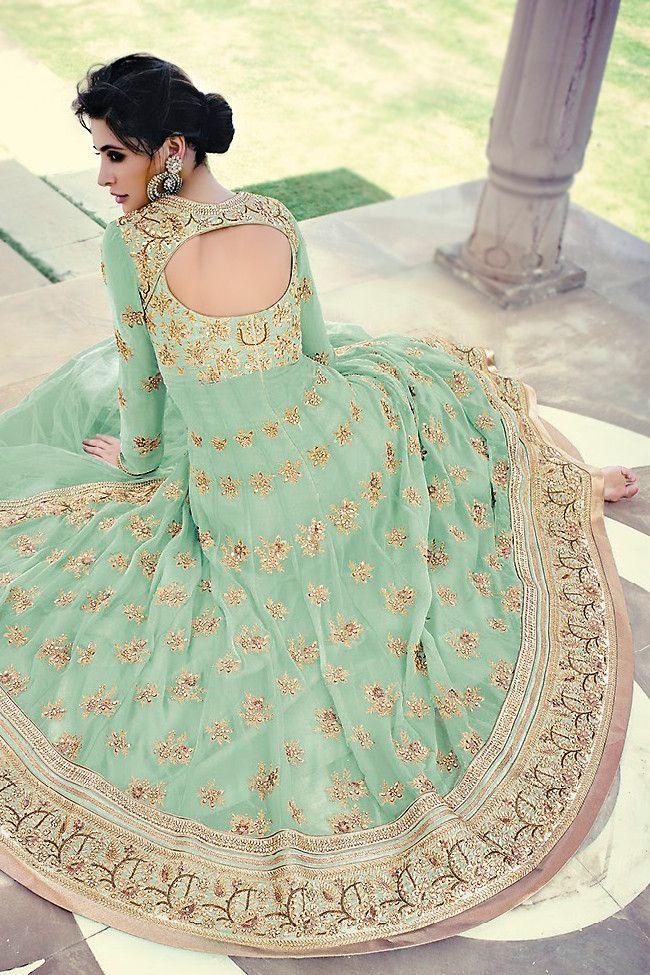 Mint Green Floor Length Anarkali Suit