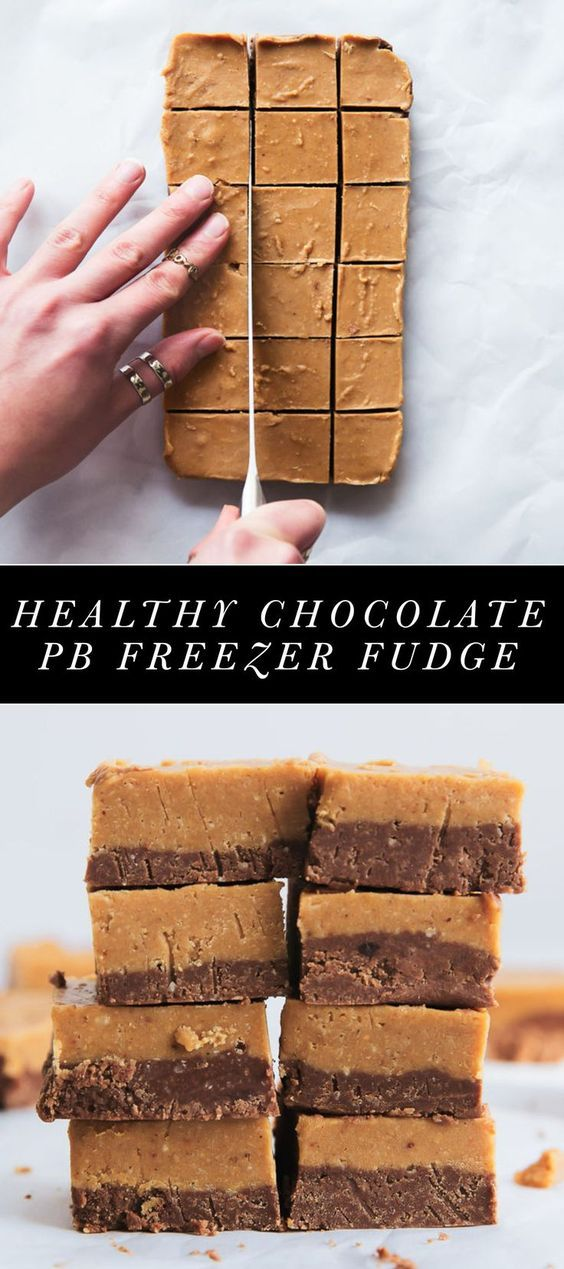 Layered Chocolate and Peanut Butter Freezer Fudge made with only 4 ingredients: peanut butter coconut butter maple syrup and cocoa powder! Gluten free low carb and vegan!