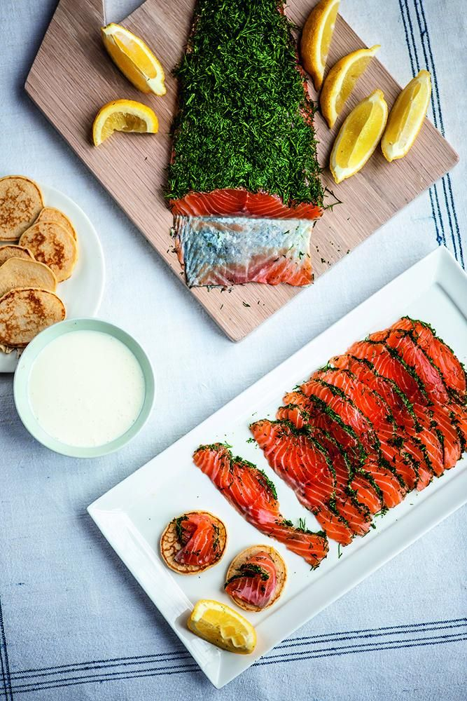 Salmon Gravlax, from Michael Caines At Home. This popular Scandinavian dish is perfect for a light Christmas starter or served as part of a buffet on Christmas eve or Boxing Day. http://thehappyfoodie.co.uk/recipes/salmon-gravlax