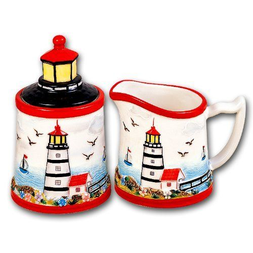 Good Lighthouse Kitchen Decor | Lighthouse Beach Sugar Bowl Creamer Set Ceramic  Kitchen From Kk At The