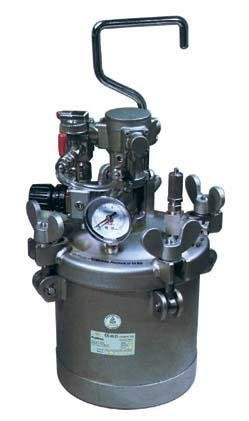 Serbatoio sottopressione AT2ASS - G.B.V.   Airless / Pressure vessel stainless steel with pressure control product and stirrer Capacity: 2 lt. Max: 4.1 bar Weight: 6.3 kg.