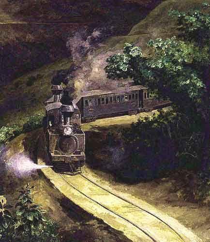 """Imagen de una pintura de José María Velasco titulada El tren A painting by José María Velasco  """" The Train """""""