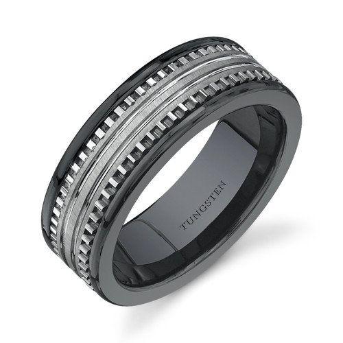 Oravo Rounded Edge 7 Mm Comfort Fit Mens Black Ceramic And Tungsten C
