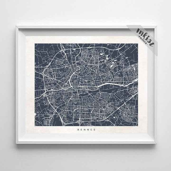 Rennes Street Map Print. Prices from $9.95. Available at www.InkistPrints.com - #inkistprints #streetmap #poster #print #christmasgift #map #bedroomart #mapart #europe #dormart #giftidea #giftforhim #homedecor #dormdecor #travelersgift #mapdecor #mapposter #Rennes #France