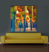 ART/Canvas Print,Wall Decor - Burgandy/Brown/ Spain, Grand Mosque, Cordoba,Alhamra,36x36 Large /Seema/, $180