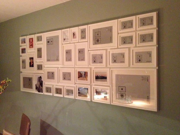 Fotowand met IKEA Ribba lijsten met verschillende afmetingen. Gemaakt van mdf plaat welke wit is geschilderd.
