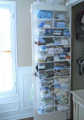 Using a BB & B shoe organizer for baby stuff - so smart! or DIAPERS and wipes