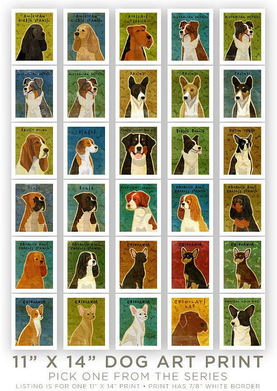 Dog artwork  Pick Your Pooch Print 11 in x 14 in by johnwgolden, $35.00