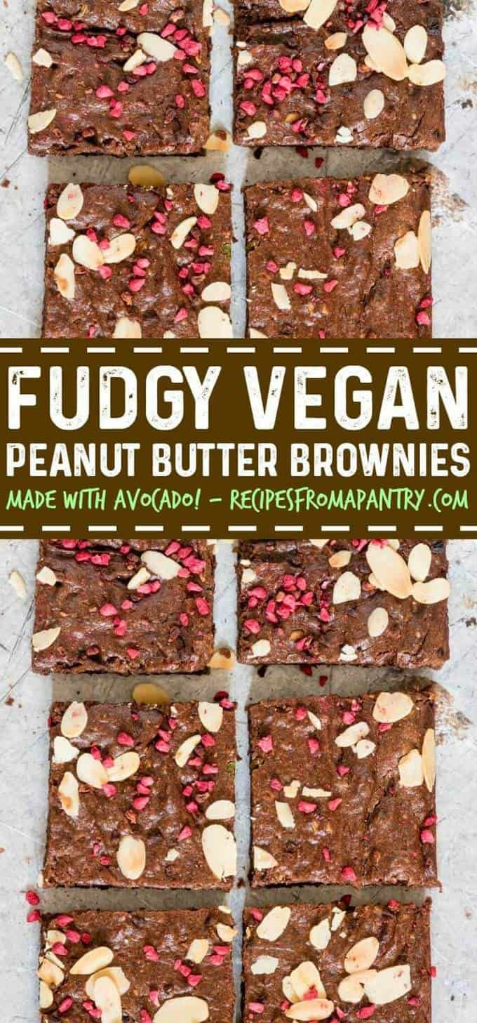 Peanut Butter Avocado Brownies are fudgy, moist, and delicious vegan brownies and dairy free brownies. A yummy healthy dessert recipe that's easy to make. #veganbrownies #vegan #dairyfree #dairyfreerecipes #veganrecipes via @recipespantry