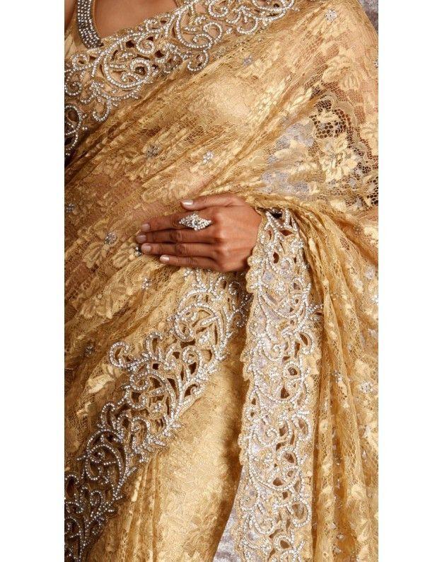 Golden color handwork net saree