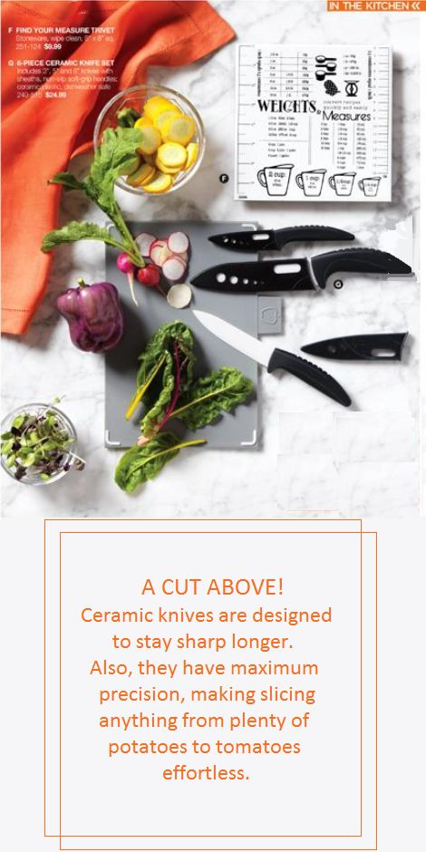 6 Piece Ceramic Knife Set Includes: 8, 13 and 15 cm L knives with sheaths. Non-slip soft grip handles. Ceramic/plastic. Dishwasher safe.