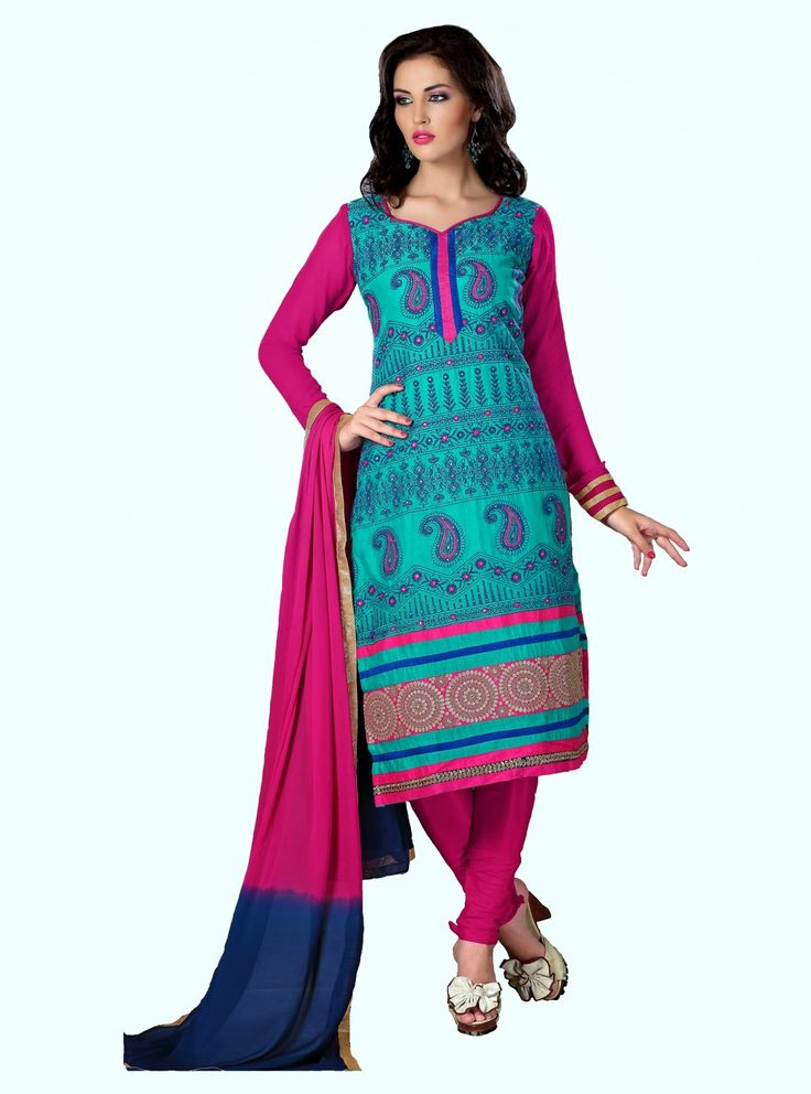 Party Wear Aqua Blue and Pink Heavily Embroidered Chanderi Cotton Suit. Comes along with Santoon Bottom and Viscose Dupatta.