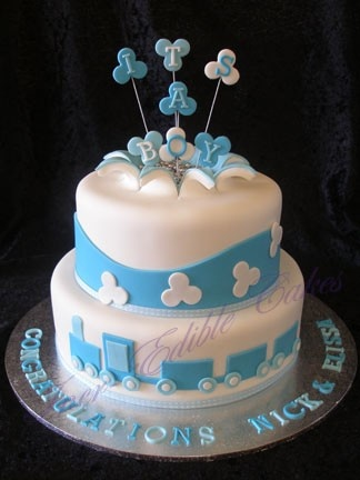 Boys Baby shower cake with train design-  a few changes….include maybe planes?