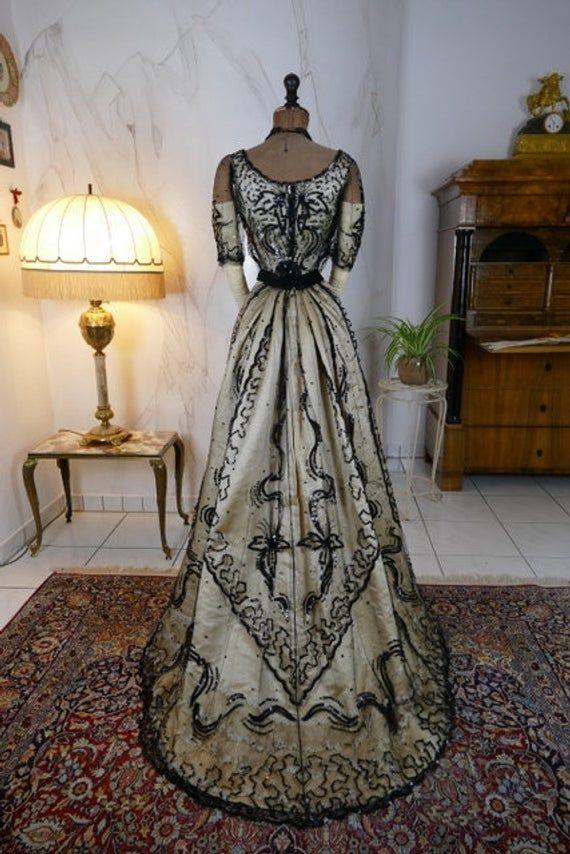 1900 Ball Gown, France, Edwardian Dress, Victorian Dress, Antique Gown, Evening Dress