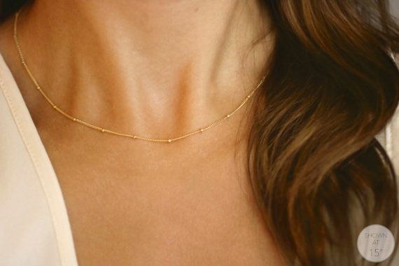 Collar cadena de oro, regalo, delicado collar, collar de satélite, delicada, con cuentas de collar, cadena de satélite, gargantilla collar/N-141