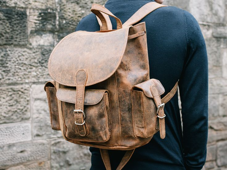 Men's Leather Backpack from Scaramanga's extensive leather bag for men collection. A leather rucksack that will last for ages, this one! #giftsformen