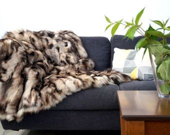 real fox fur blanket trow