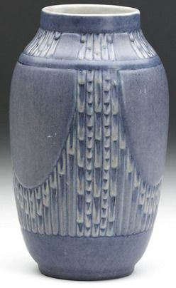 pottery & porcelain, Louisiana, A Newcomb College pottery vase by A. F. Simpson [Anna Frances Simpson], Espanol pattern, 1929. NC RM49 77 JH...