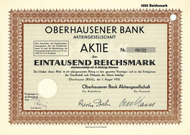Oberhausener Bank, Oberhausen (Rhld.), Aktie über 1.000 RM v. 1935 + SEHR SELTEN