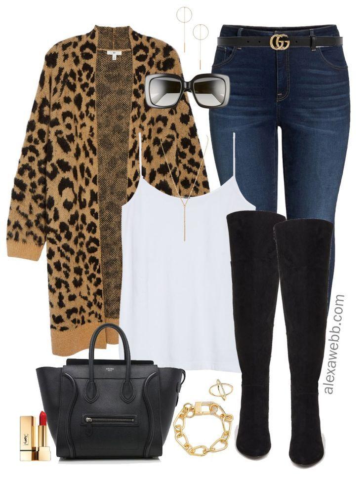 75277dd5643 Plus Size Leopard Cardigan Outfit Ideas - Plus Size Fall Outfits - Plus  Size Fashion for Women - alexawebb.com  alexawebb  plussize
