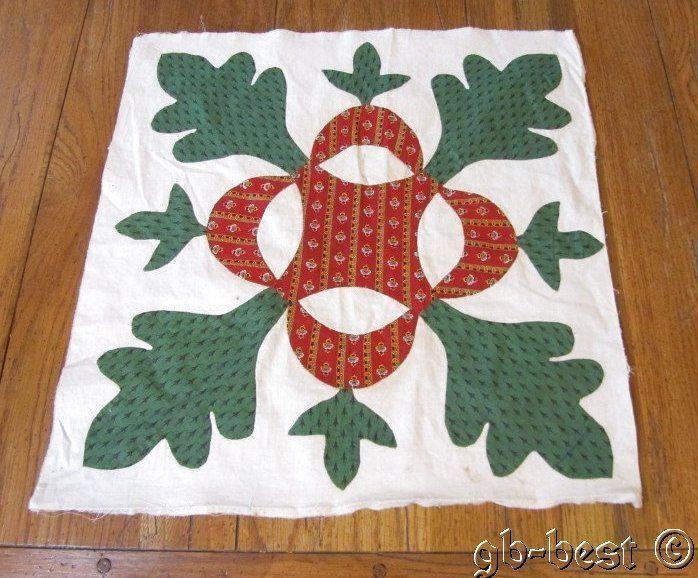 Early 1850s Antique Baltimore Album Applique QUILT Block Turkey Red Green #1