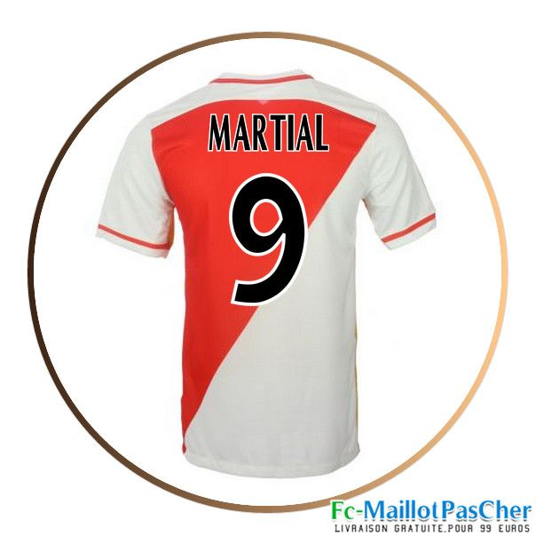 Maillot de football AS Monaco rouge et blanc MARTIAL 9 Domicile 15 2016 2017