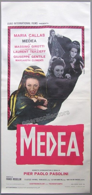 "Wonderful movie poster for ""Medea"", the only movie with Maria Callas. Medea was…"