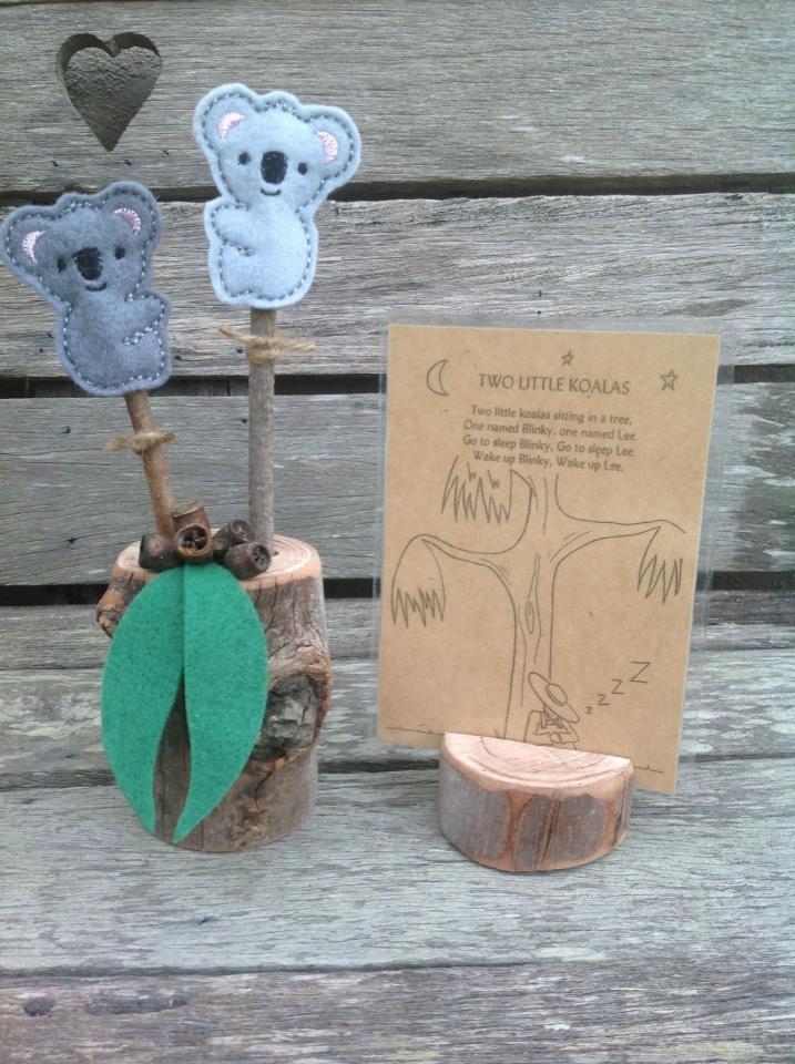 2 Little Koala stick puppets from  http://www.facebook.com/Fingadingadoo