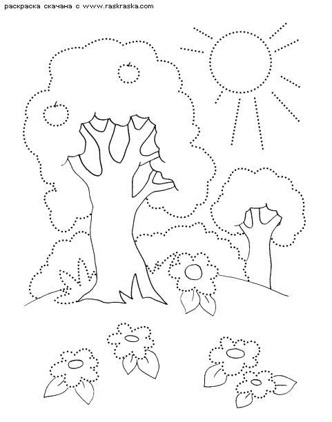 Раскраска Деревья летом   Раскраски времена года - лето. Летние ...